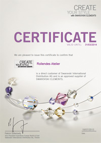 SWAROVSKI ELEMENTS Certificate